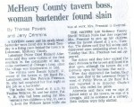 McHenry County Tavern Boss, Woman Bartender Found Slain (1981)