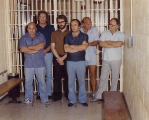 The Hole In The Wall Gang being arrested on July 4th, 1981 for robbing Bertha's. From left to right, Larry Neumann, Frank Cullotta, Joe Blasko, Leo Guardino, Ernie Davino, and Wayne Matecki