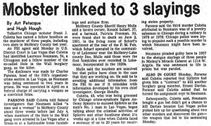 """1982 Newspaper Article """"Mobster Linked to 3 Slayings"""""""