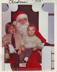 Paul and his brother Mike visiting Santa (1974)