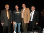 Frank Cullotta, Denny Griffin, Andrew Didonato,  and Paul Scharff at the Clark County Library, Las Vegas, NV. January, 2011