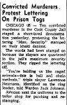Stevens Point Daily Journal, December 18th, 1956,  While Larry Neumann is in jail waiting his fate for the triple murder of June 8th, 1956, he leads a protest. Pictures from his capture can be found on this page http://www.mchenrycounty1981.com/images/cullottas-hole-in-the-wall-gang-and-larry-neumann/