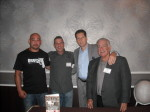 Kenji Gallo, Paul Scharff, Andrew DiDonato, and Dennis Griffin at Mob Con 2013 in Las Vegas. Posing behind Andrew DiDonato's book SURVIVING THE MOB co-authored with Dennis Griffin.