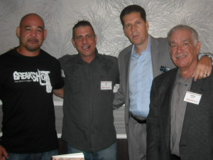 Kenji Gallow, Paul Scharff, Andrew DiDonato, and Dennis N. Griffin at Mob Con 2013 September 7th. Kenji Gallow is a former Columbo Crime Family member, Andrew DiDonato is a former Gambino Crime Family Member, and Dennis N Griffin is a nationally renowned true crime author.