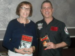Cathy Scott and Paul Scharff at Mob Con 2013 on September 8th. Cathy is a true crime author and an award winning journalist. We are holding each others books that we traded.