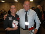 Paul Scharff and Ronald Fino at Mob Con 2013 on September 8th. Ron Fino's dad was the boss of the Buffalo Crime Family. He has become an FBI/CIA operative. We are holding each other's books.