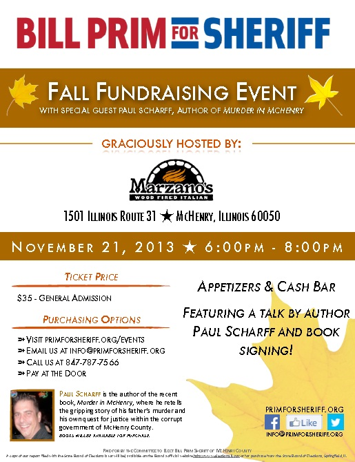Flyer for Bill Prim for Sheriff fundraiser featuring Paul Scharff