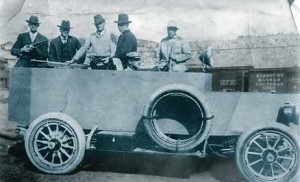 This is an armored car used against the striking coal miners at the Ludlow Massacre by Baldwin-Felts Detective Agency.