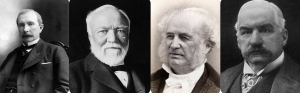 Robber Barons of the Industrial Age from let to right, John D. Rockefeller, Andrew Carnergie, Cornelius Vanderbilt, and JP Morgan.