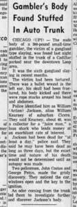 "The Murder of William ""Action"" Jackson Newspaper Clipping"