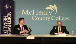 Bill Prim and Andrew Zinke at MCC for the League of Women Voters forum