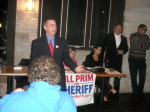 Paul Scharff speaking at Bill Prim for McHenry County Sheriff Fundraiser November, 2013 McHenry, Illinois.